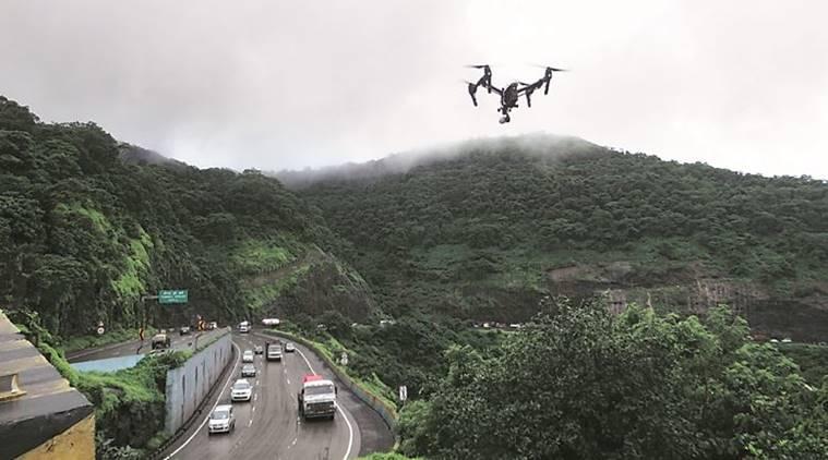 drone inspection de la chaussée